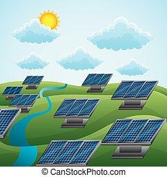 自然, -energy, 太陽, solars, ladscape, きれいにしなさい, 雲, パネル