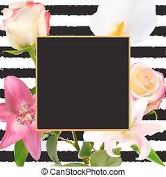 自然, flower., 上升, 摘要, 插圖, 背景。, 矢量, 百合花, 框架