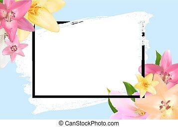 自然, flower., 摘要, 插圖, 背景。, 矢量, 百合花, 框架