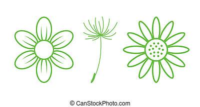 自然, -, icons., 部分, 緑, 9, 花