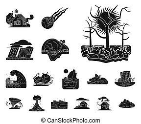 自然, illustration., シンボル。, イラスト, ビットマップ, コレクション, 株, 危険, 災害
