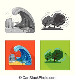 自然, illustration., 彙整, 矢量, 插圖, 股票, logo., 風險, 災禍