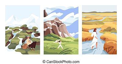 自然, illustrations., 人, ベクトル, characters., 山光景, 概念, 人々, 風景, alone., 景色, 野生, 選択, あなたの, 女, 平ら, 見つけること, 美しい, 川, 自由, に対して, 歩きなさい, way.