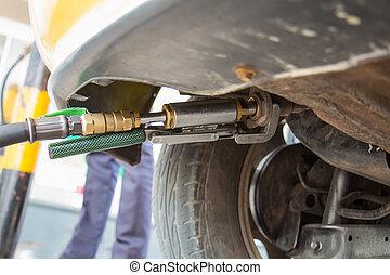 自然, (lpg), ガス, の上, 車, 燃料