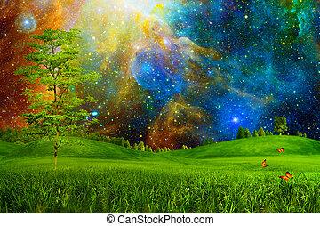 自然, nighty, 抽象的, 下に, skies., 風景