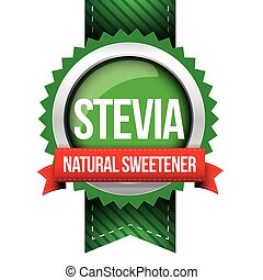 自然, -, stevia, ベクトル, 甘味料, リボン