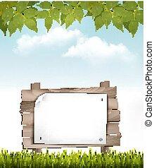 自然, vector., 木製である, 印。, 背景, 葉