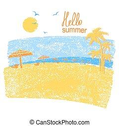 自然, .vector, 符號, 假期, 熱帶的海灘, 傘