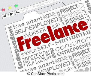 自由職業者, indpendent, 承包商, 網站, 開發者, 詞, 拼貼藝術