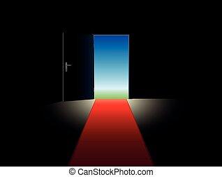自由, ドア, 赤, 開いた, カーペット