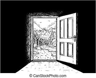 自由, ベクトル, ドア, 漫画, 自然