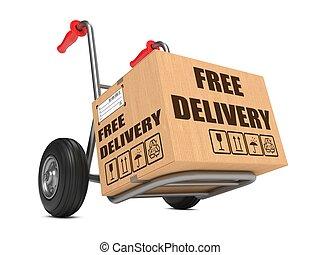 自由, 交付, -, 厚紙箱, 上, 手, truck.