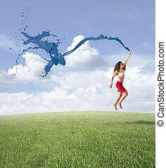 自由, 女の子, 概念, 跳躍