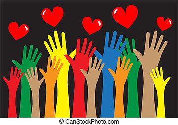 自由, 手を伸ばす, 愛, 手