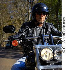 自由, 持つ, モーターバイク, 人