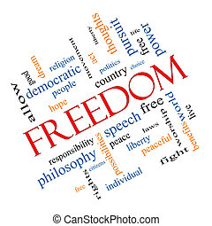 自由, 概念, 単語, 雲, 斜め