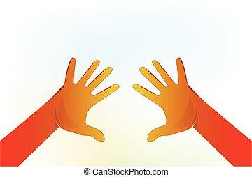 自発的, シンボル, 手, ベクトル, ロゴ