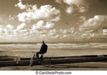 自行車騎手, 上, the, 海灘。
