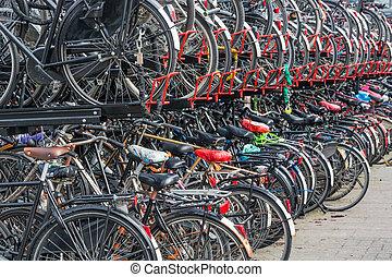 自行車, 隱蔽所, 在, a, 荷蘭語, 城市