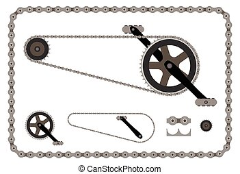 自行车连锁, 部分, 矢量, 描述, 在怀特上, 背景