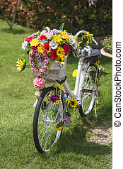 自行车, 带, a, 水桶, 在中, 色彩丰富, f