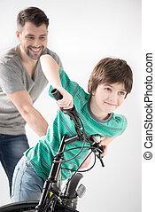自転車の 乗車, 父, 息子, いかに, 教授, 微笑, 白