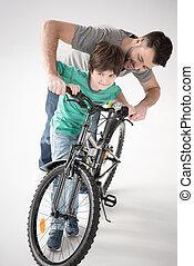 自転車の 乗車, 父, 息子, いかに, 教授, 白