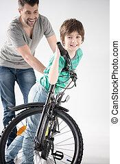 自転車の 乗車, 父, 息子, 朗らかである, いかに, 教授, 白