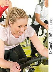 自転車, くるくる回る, 女, 若い, クラス