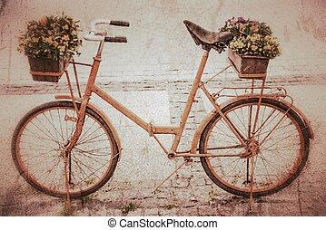 自転車, ∥で∥, 花, 中に, retro 様式