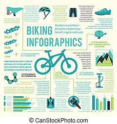 自転車, アイコン, infographic