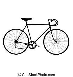 自転車, シルエット, 隔離された, 白, 背景