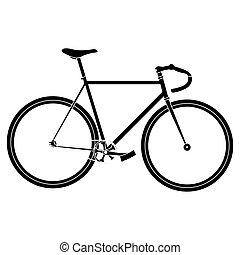 自転車, シルエット, 隔離された
