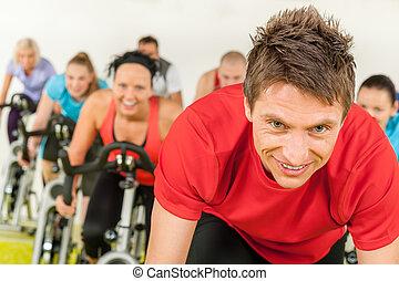 自転車, ジム, 屋内, サイクリング