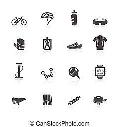 自転車, セット, アイコン