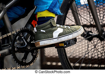自転車, フィート, bmx, ペダル