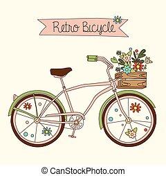 自転車, ベクトル, イラスト, レトロ