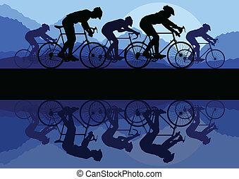 自転車, ベクトル, 背景, 概念