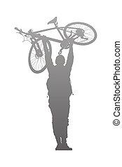 自転車, 上昇, シルエット, の上, 人
