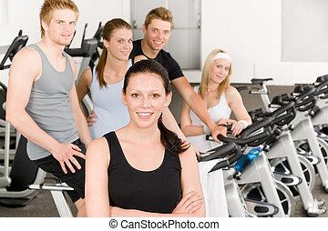 自転車, 人々, ジム, 若い, フィットネス, グループ