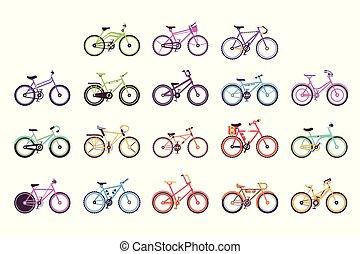 自転車, 別, 子供, カラフルである, セット, フレーム, bicycles, ベクトル, マレ, 女性, イラスト, 様々, タイプ
