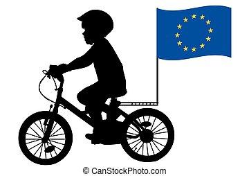 自転車, 合併フラグ, 子供, 乗車, ヨーロッパ