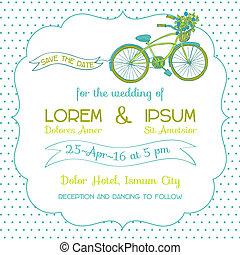 自転車, 型, 招待, -, 主題, ベクトル, 結婚式, カード