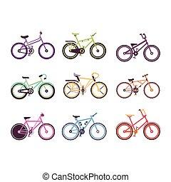 自転車, 子供, カラフルである, セット, bicycles, ベクトル, 様々, 女性, イラスト, マレ, タイプ