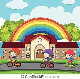 自転車, 子供, 3, 道, 乗馬