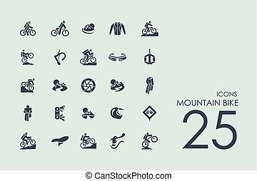 自転車, 山, セット, アイコン