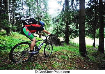 自転車, 山, 屋外, 人