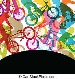 自転車, 抽象的, サイクリスト, 子供, シルエット, ベクトル, イラスト, 背景, 活動的, スポーツ, ライダー...