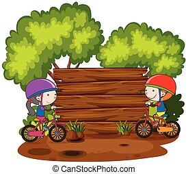 自転車, 木製である, 次に, 板, 乗馬, 子供