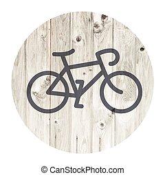 自転車, 木製の壁, 背景, minimalistic, 年を取った, アイコン